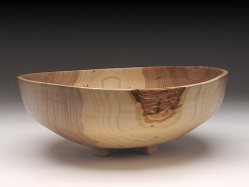 Footed Siberian Elm Bowl
